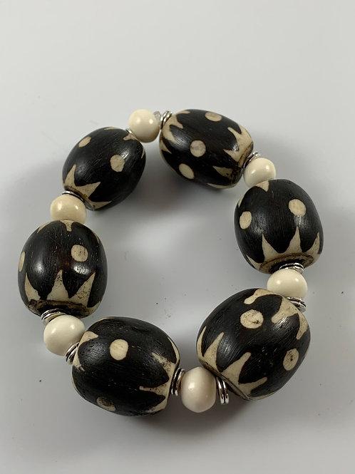 Vintage Kenyan batik and mala (prayer) bead stretch bracelet