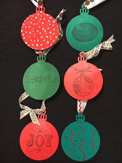 Set of 6 holiday themed ornaments/tags