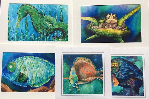 Sealife series (1) photo mat card 5 pack