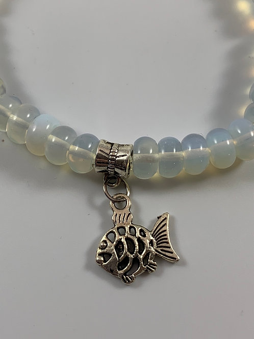 Moonstone stretch bracelet with silver fish charm