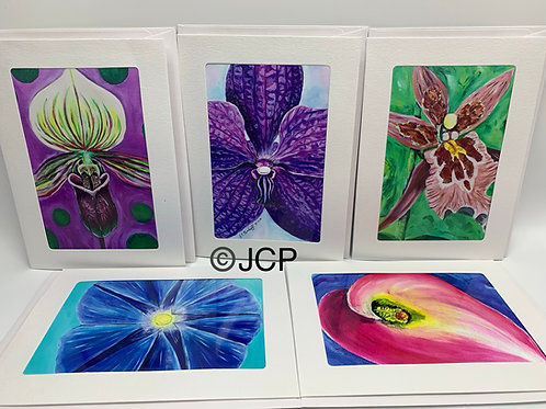 Botanical Art set, orchid, morning glory, calalily, 5 pack card set