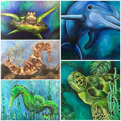 Sea life #3 photo mat card set- 5 pack