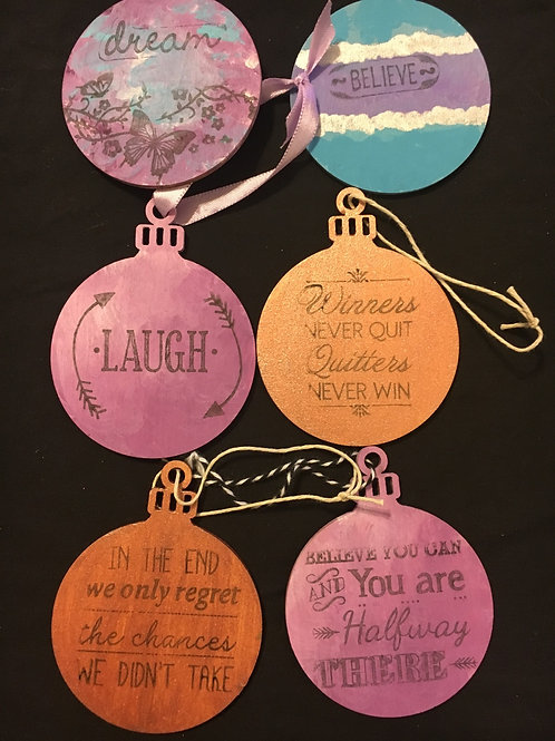 Set of 6 inspirational ornaments/tags