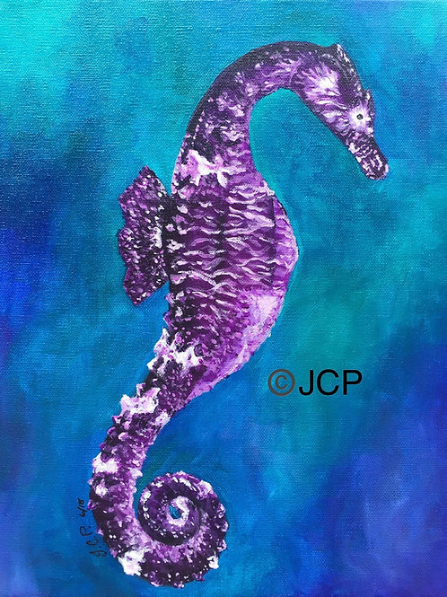 The Purple Seahorse for Prince - original acrylic painting
