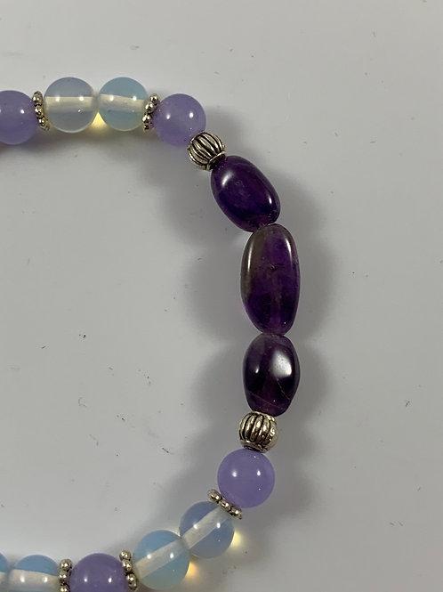 Amethyst, purple jade, and moonstone stretch bracelet