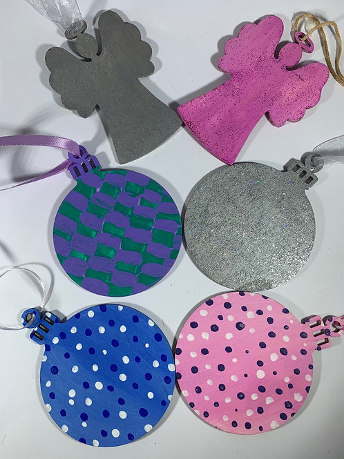 Set of 6 hand painted assorted ornaments/tags