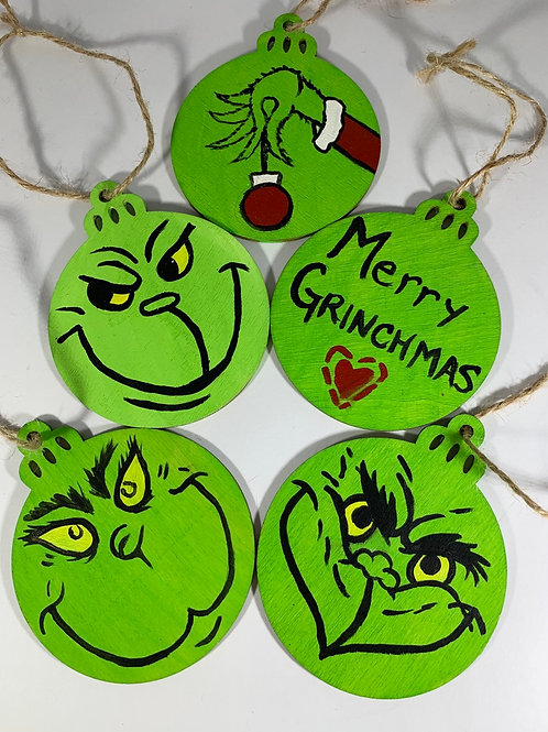 Set of 5 hand painted Grinch ornaments