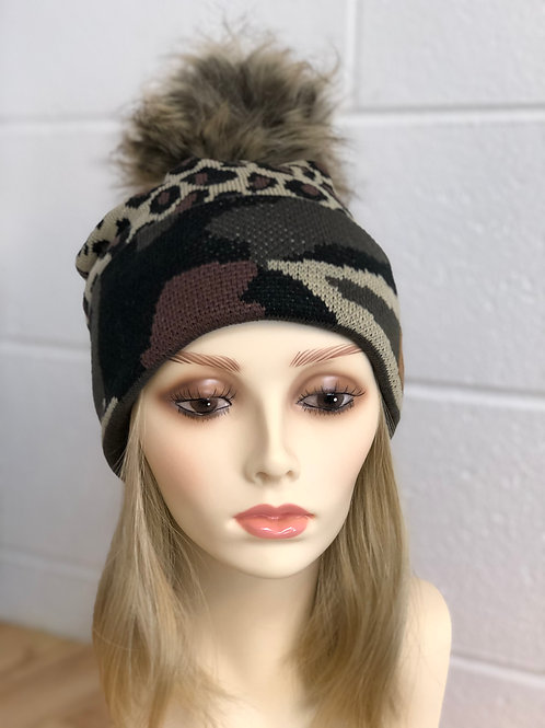 Green Camo & Leopard knit hat with pom pom accent