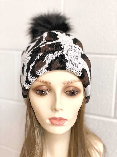 White leopard hat