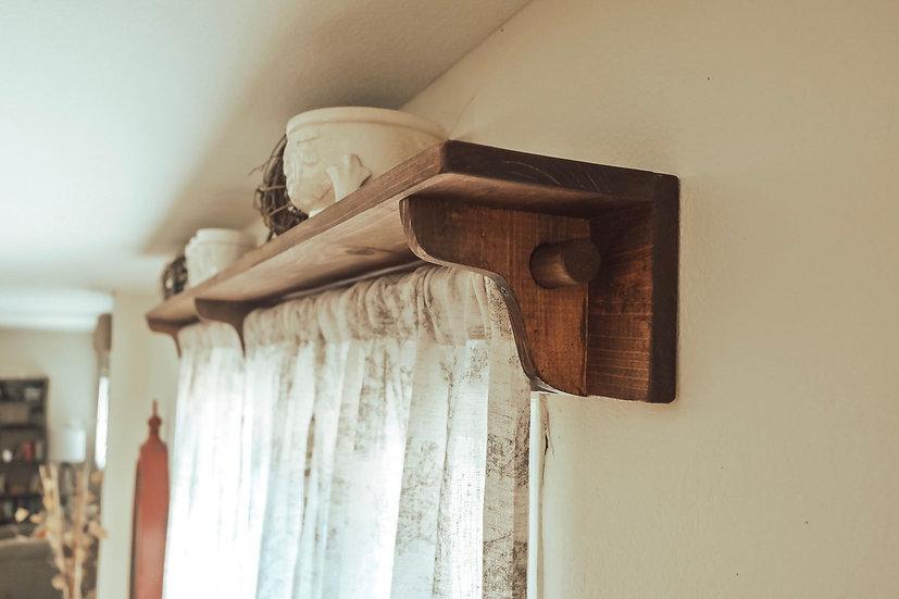 Farmhouse Curtain Rod Shelf