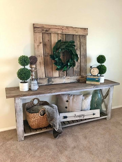 Single Shelf Farmhouse X Console Table