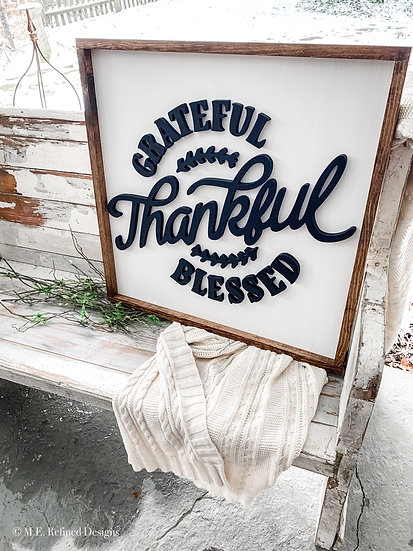 3D Grateful Thankful Blessed Framed Sign
