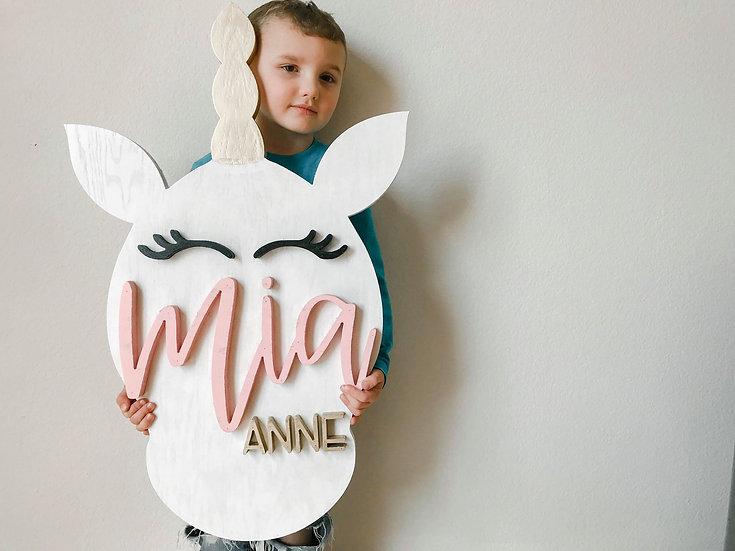 3D Unicorn Nursery Sign