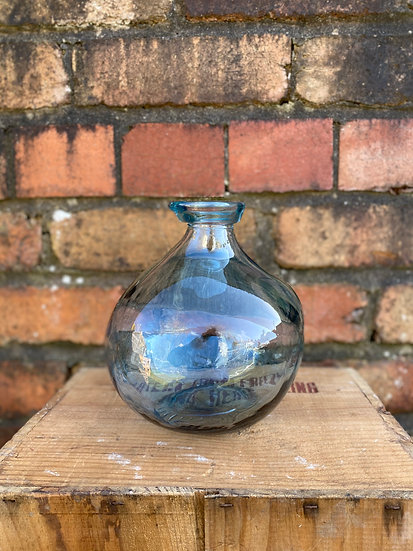 Recycled Glass 18cm Pale Blue Vase