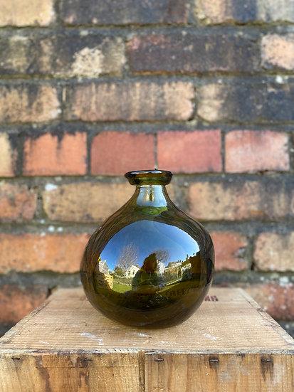 Recycled Glass 18cm Bottle Green Vase