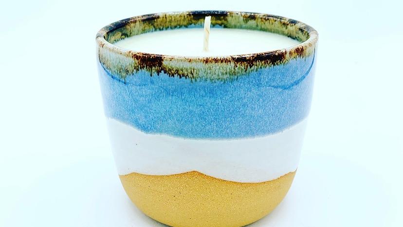 Azure Stoneware Candle