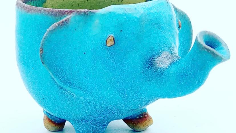 Turquoise Elephant Stoneware Candle