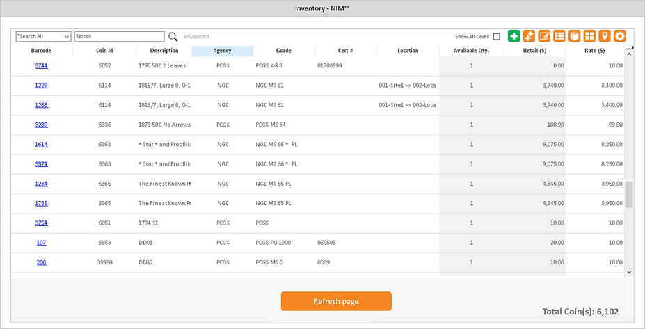 Numismatics Inventory Manager - Inventory screen