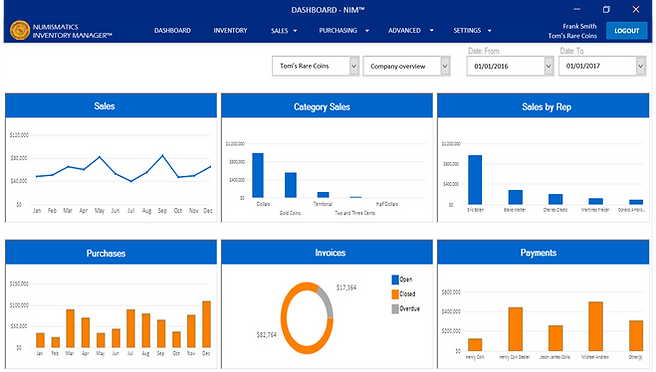 Numismatics Inventory Manager Dashboard