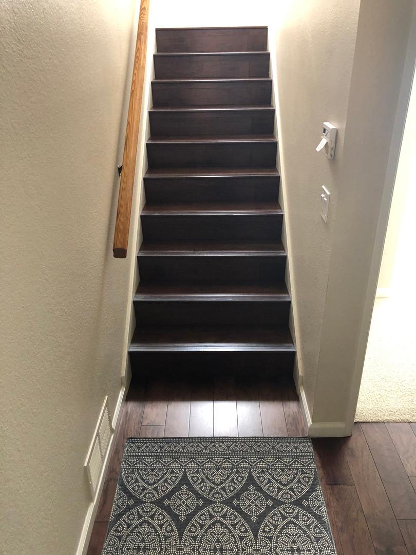 Hardwood stairwell and landing.
