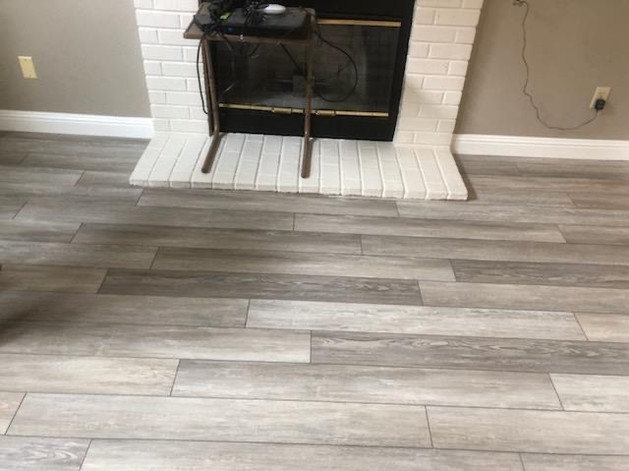 New luxury vinyl at fire place