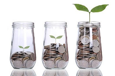 3 jars filled with increasing coins and 3 growing plants to signify financial growth.