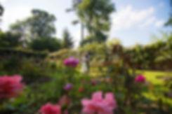 B & G in flower garden