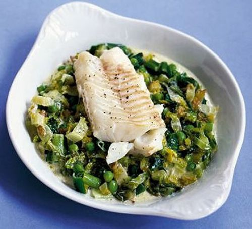 dinner - fish with lettuce and peas