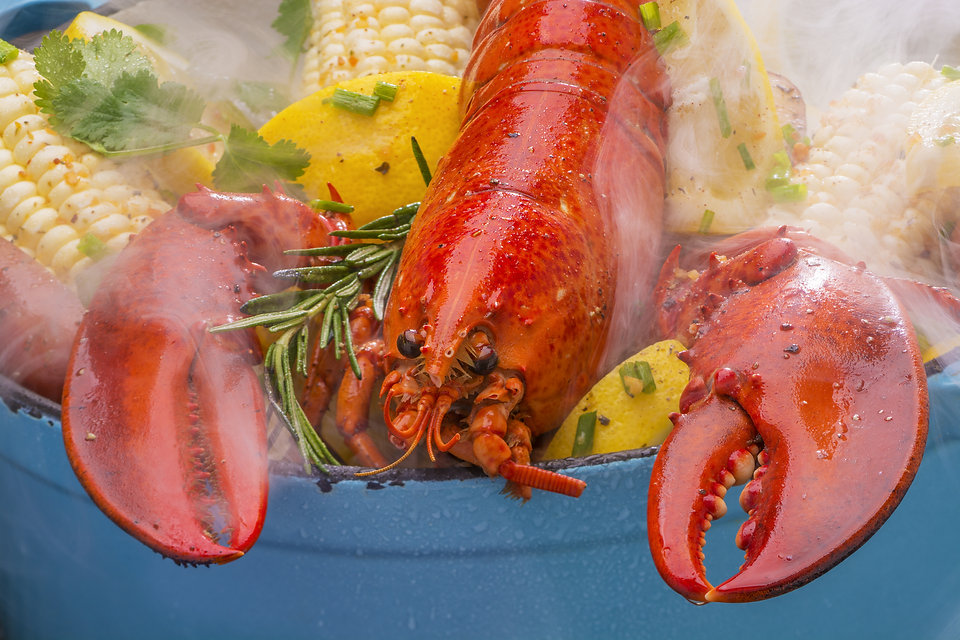 Steamed Lobster and Vegetables in a Pot