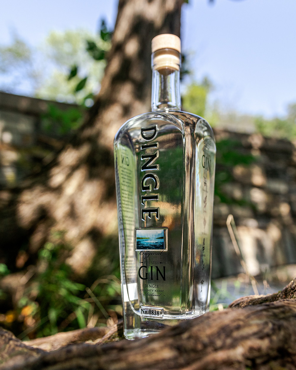 Bottle of Dingle Irish Gin near bridge near bridge and stream