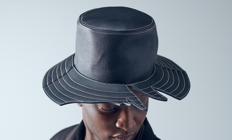 Grey logo cut leather hat