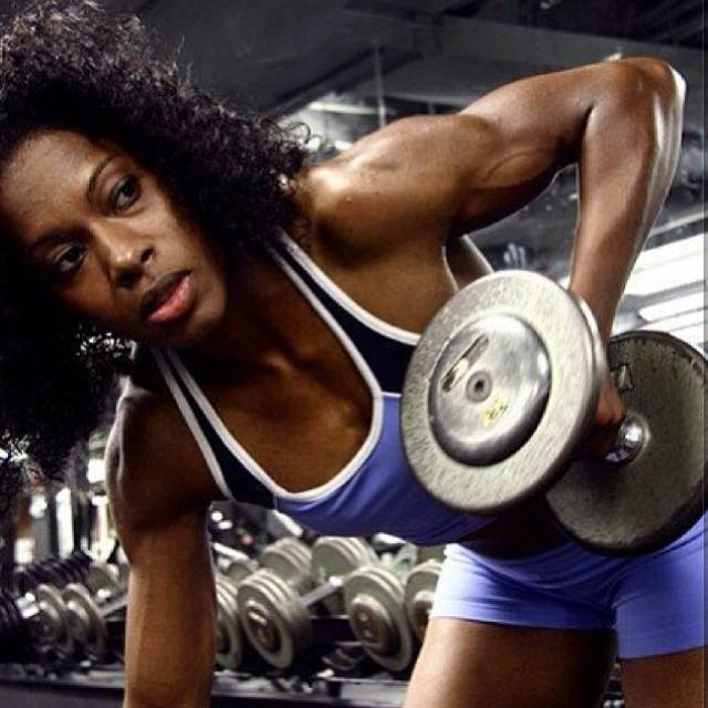 fitness strong woman Antoinette Padila lifting weights