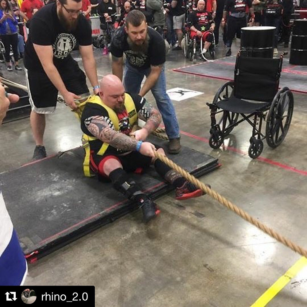 disabled strongman Billy the Rhino Petrynczyk at Arnold Classic