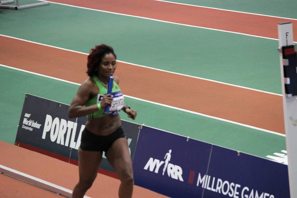 Deaneth Edwards competing at the Millrose Games