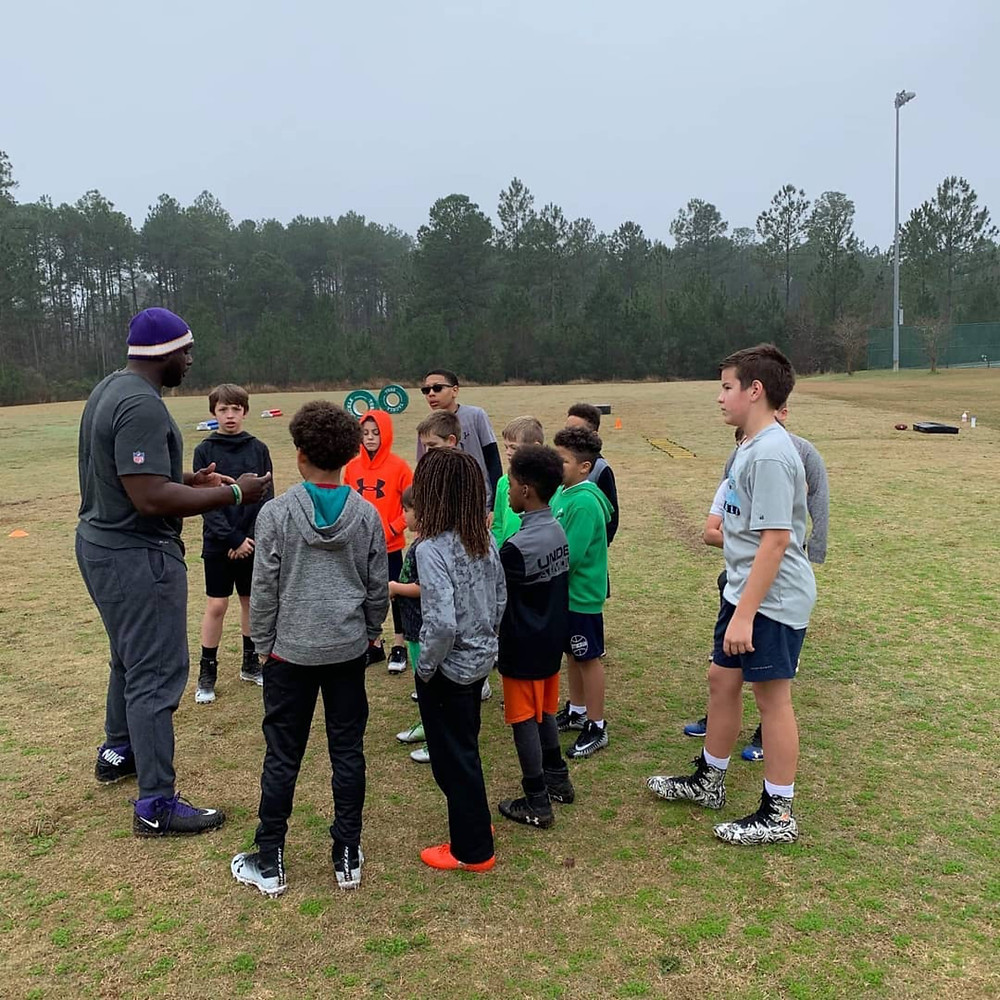 youth football training with Coach Trawick
