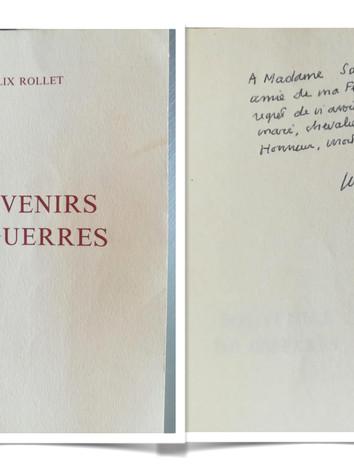 Dédicace de Félix Rollet (1905 - 2009) à Marthe Sabatier