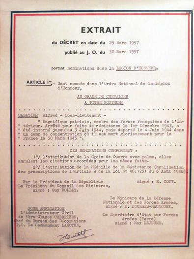 Extrait du décret en date du 25 mars 1957, publié au J.O. le 30 mars