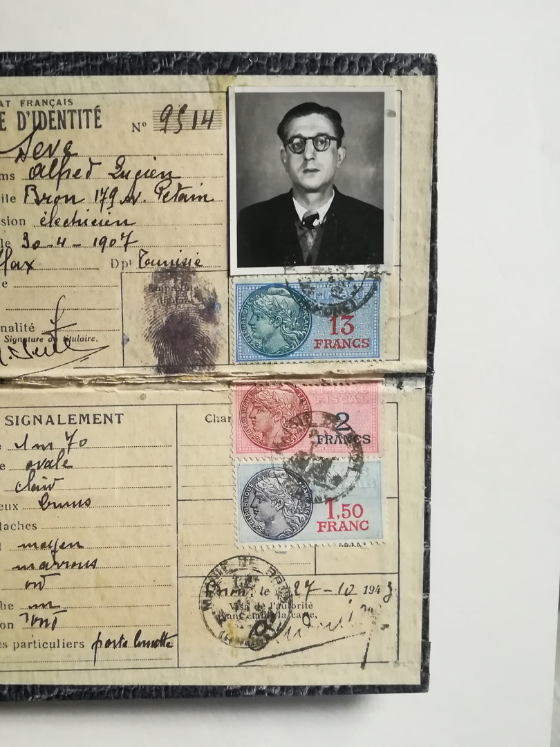 Fausse carte d'identité utilisée par Alfred Sabatier pour ses activités dans la Résistance