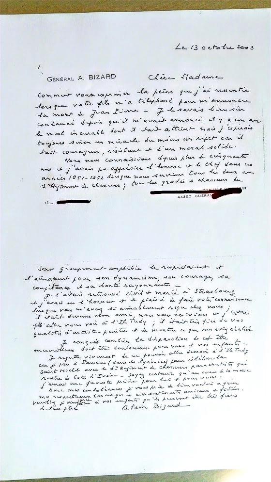 Lettre du Général Alain Bizard à Marcelle Mottura, fille d'Alfred Sabatier