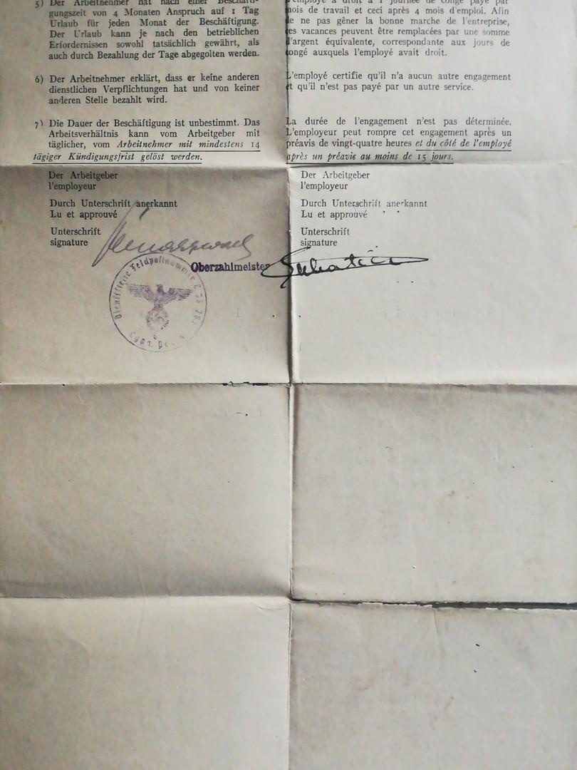 Contrat de travail fourni par l'armée allemande. Verso. Source : archives privées