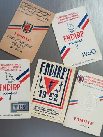 exemples de cartes FNDIRP, famille Sabatier