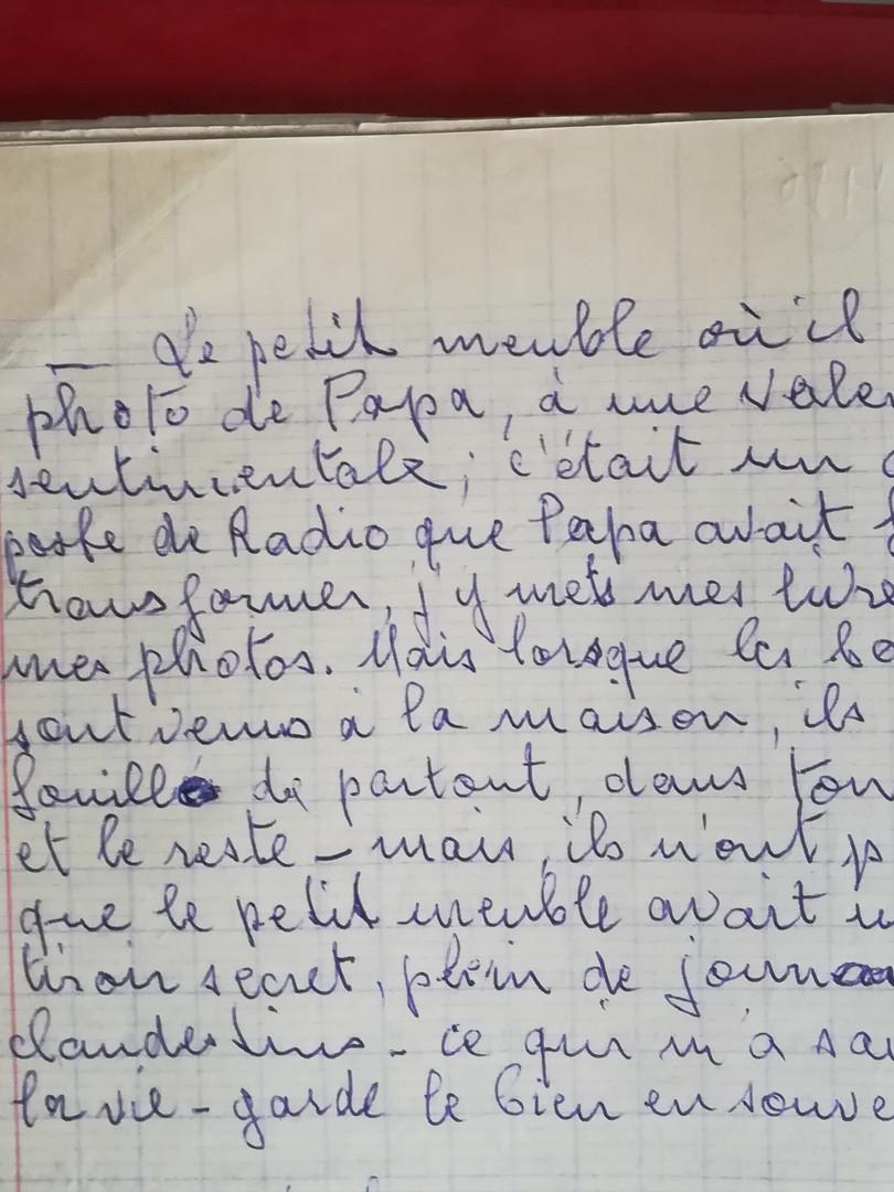 Note écrite par Marthe Sabatier, alors âgée de 88 ans, à l'attention de sa fille