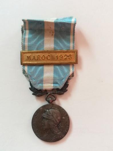 Médaille Coloniale Maroc 1925 attribuée à Alfred Sabatier. Avers.