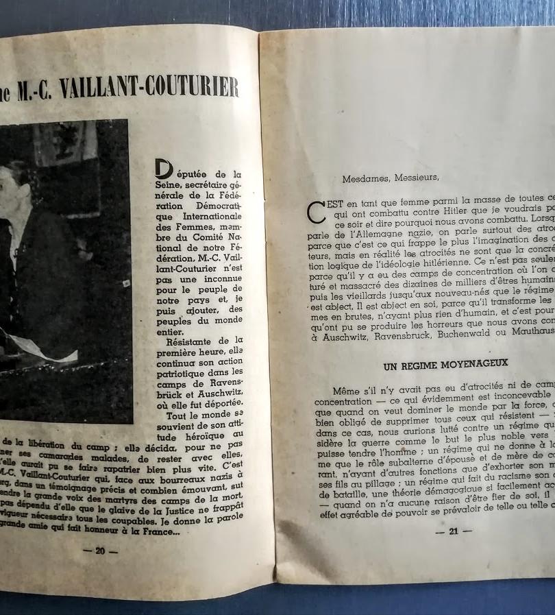 Livret de 47 pages édité par la FNDIRP, 1947