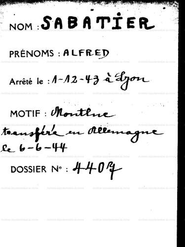 Source : Archives Départementales du Rhône. Fonds de l'Association des rescapés de Montluc (301 J)