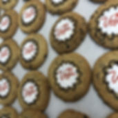 Chocolate chip cookies with the LVVCA logo on them