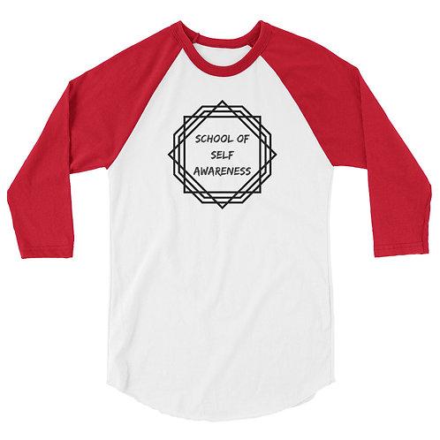 Men's 3/4 Sleeve Shirt Black Sacred Geometry Self-Awareness