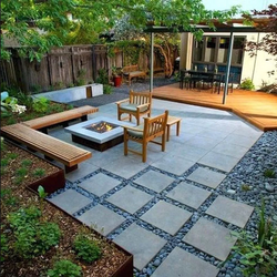 Modern patio with firepit