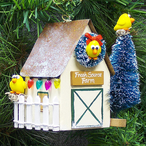 Personalized Cream Chicken Coop Ornament