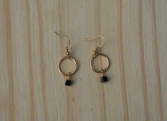 Hematite Circle Earrings